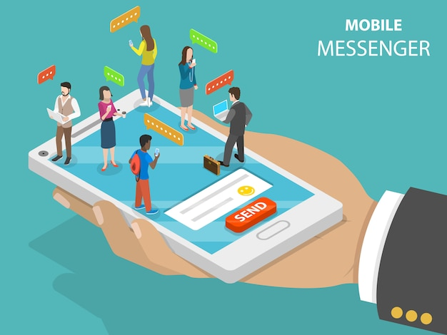 Mobile messenger flat isometric vector concept. Premium Vector
