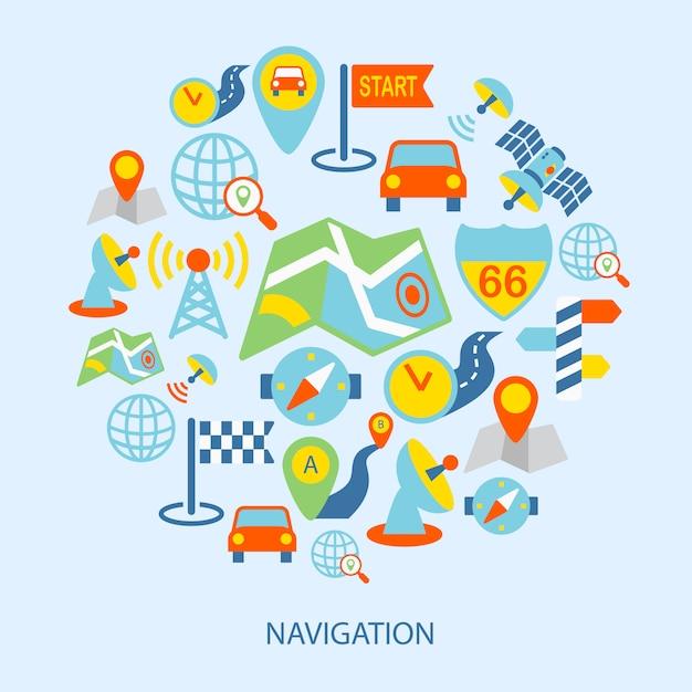 Mobile navigation elements flat Free Vector
