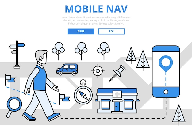 Navigazione mobile gps geoposizione concetto di tecnologia linea piatta icone d'arte. Vettore gratuito