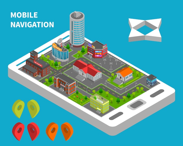 Mobile navigation isometric concept Free Vector