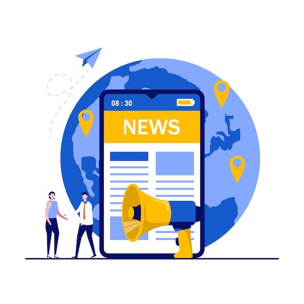 モバイルニュースアプリ、デジタルワールドワイドメディア、インターネットプレスリリースのコンセプト。大きなスマートフォンの近くに立ってオンラインニュースを読んでいる人。 Premiumベクター