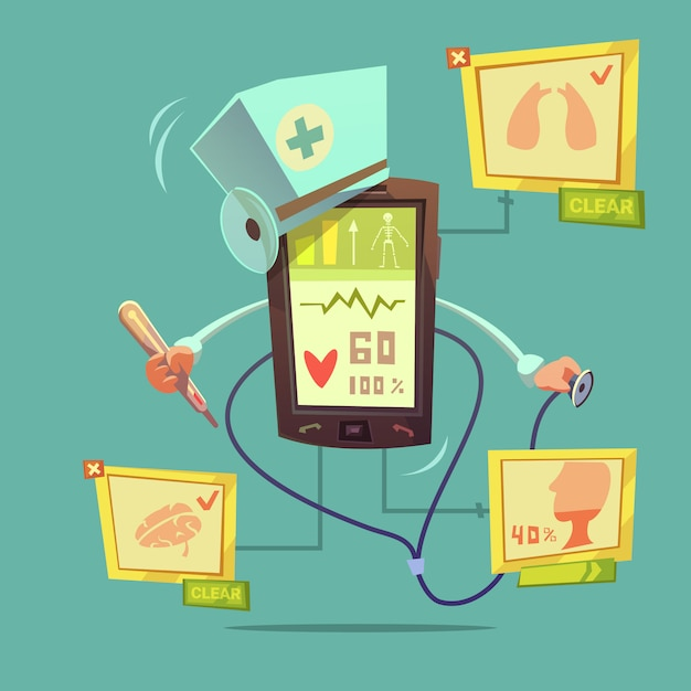 Mobile online health diagnostic concept Free Vector