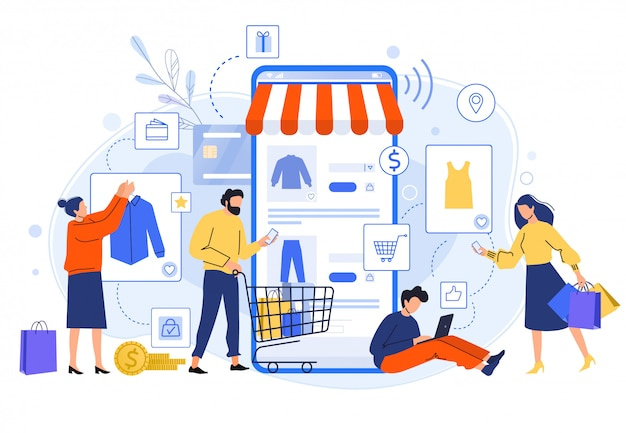 Mobile online shopping. people buy dresses, shirts and pants in online shops. shoppers buying on internet sale flat illustration. online clothing store. discount, total sale concept Premium Vector