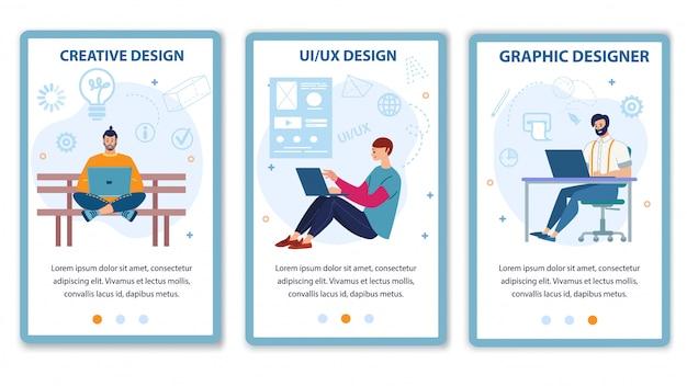 Mobile page set offer computer designer service Premium Vector