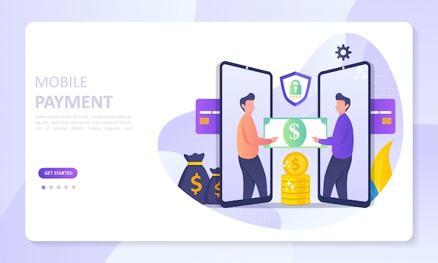 Mobile payment banner landing page Premium Vector