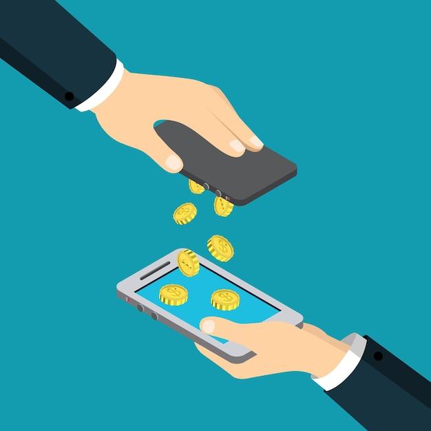 Мобильные платежи, перевод денег, плоские изометрические финансовые транзакции Бесплатные векторы