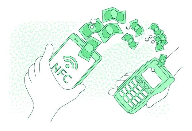 Мобильный платежный терминал тонкая линия концепции иллюстрации. лицо, осуществляющее платеж с смартфон мультипликационный персонаж для веб-сайтов. nfc pay, перевод денег, креативная идея электронного кошелька Premium векторы