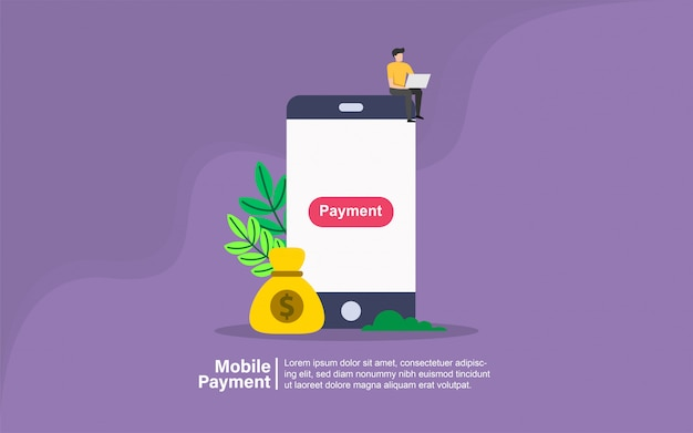 Mobile payment with people character banner Premium Vector