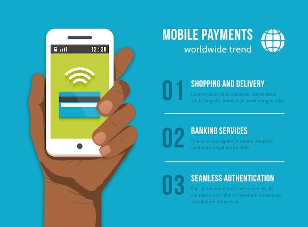 モバイル決済。黒人男性の手で携帯電話。マネーファイナンスバンキング、ペイアンドバイ、カードクレジット、デバイス通信、 無料ベクター