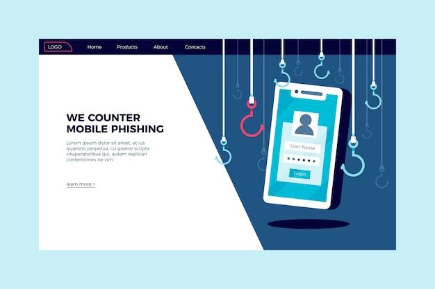 Pagina di destinazione del phishing mobile Vettore gratuito