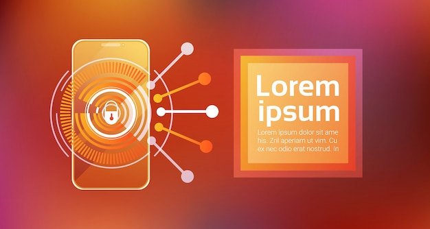 Mobile phone access technology smartphone security concept identification and protection app Premium Vector
