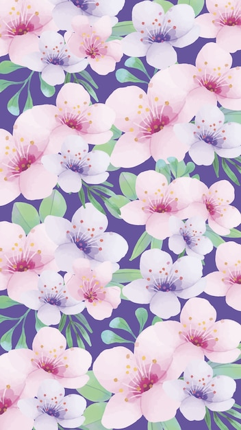 Mobile phone background with nice watercolor flowers Free Vector