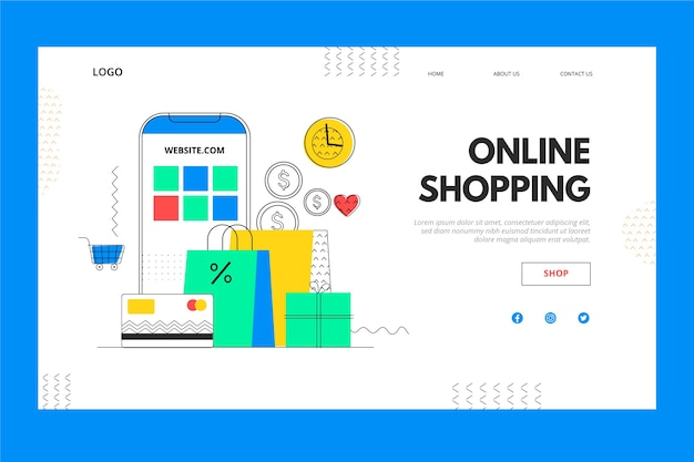 Mobile phone and box online shopping landing page Free Vector