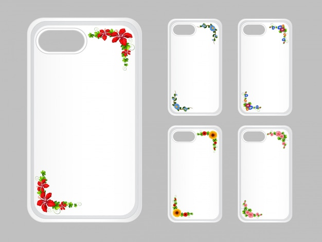 Mobile phone case with colorful flowers Free Vector