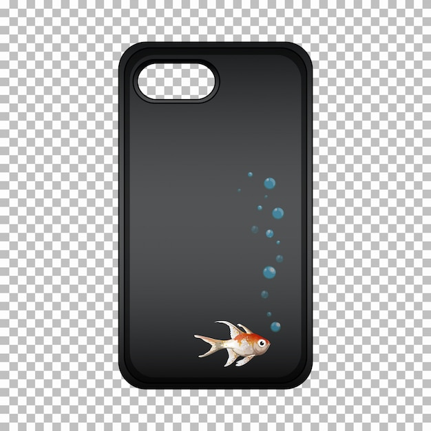 Mobile phone case with cute fish Free Vector