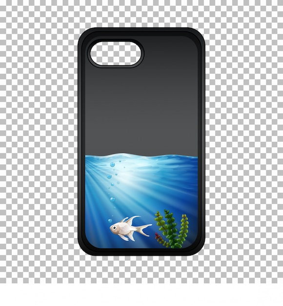 Mobile phone case with fish underwater Free Vector