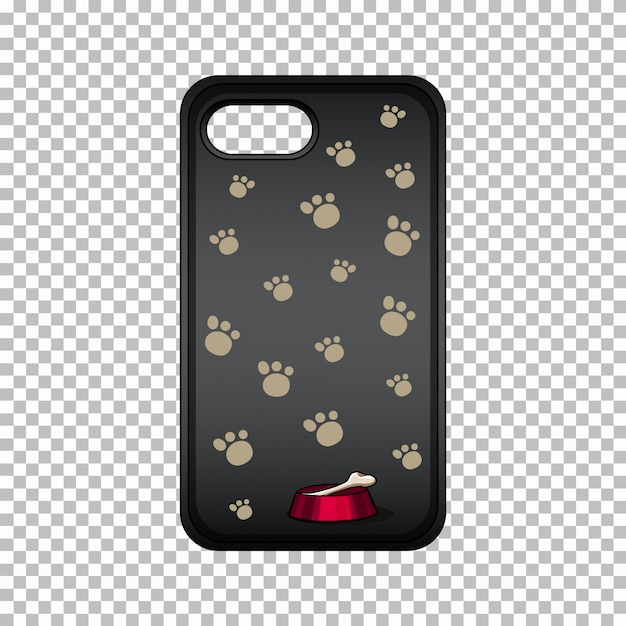 Mobile phone case with paws Free Vector