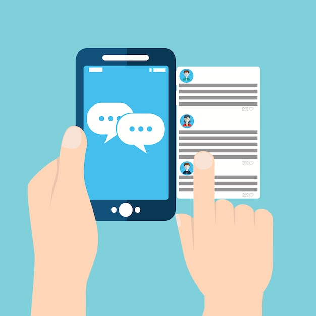 Mobile phone chat message notifications Premium Vector
