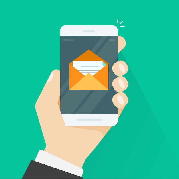 Mobile phone and email message in envelope Premium Vector
