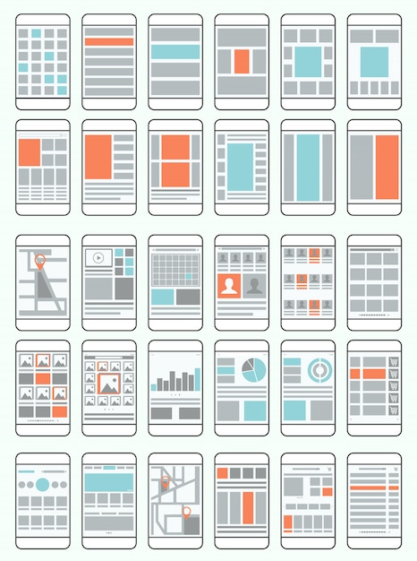 Mobile phone flow charts, wireframes, set of interface layouts for mobile applications Premium Vector