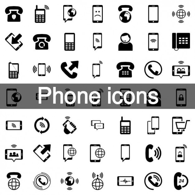 Mobile phone icon set Free Vector