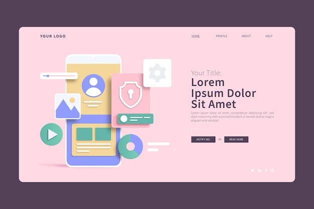 Mobile phone interface 3d concepts landing page Free Vector