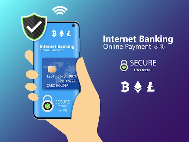 Mobile phone and internet banking. online payment security transaction via credit card. protection shopping wireless pay through smartphone. digital technology transfer pay. Premium Vector