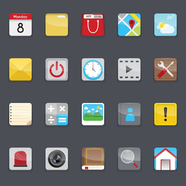 Mobile phone menu icons collection Free Vector