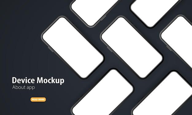空白の画面を持つ携帯電話のモックアップ。ベクトルイラスト Premiumベクター