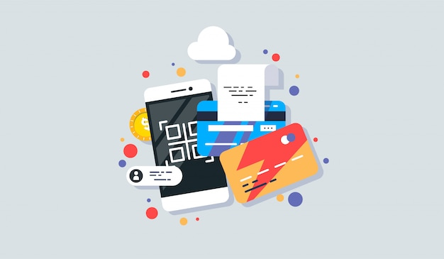Mobile phone payment icon in flat style. Premium Vector