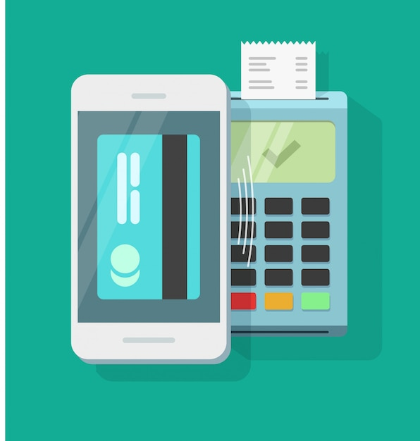 Mobile phone payment processing wireless technology or smartphone air pay vector flat cartoon Premium Vector