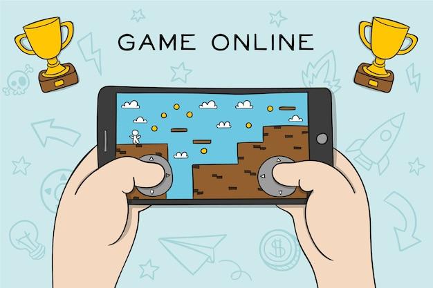 Концепция видеоигры на платформе мобильного телефона Бесплатные векторы