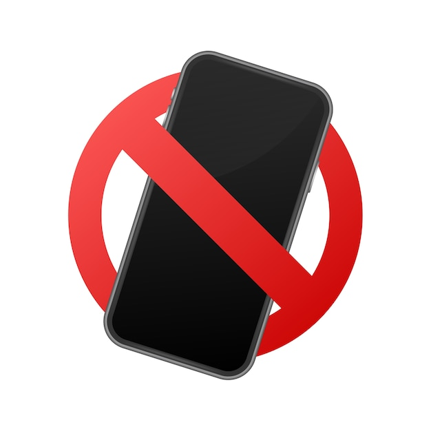 Mobile phone prohibited. no cell phone sign. Premium Vector