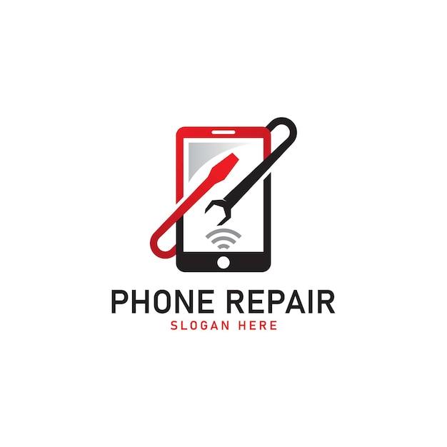 Mobile phone repair logo template vector illustration Premium Vector