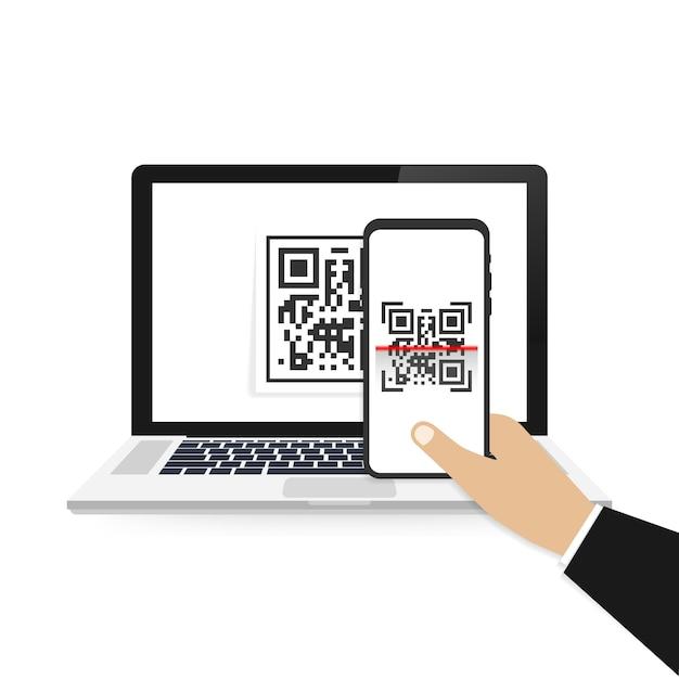 Mobile phone scan qr code.  illustration isolated . Premium Vector