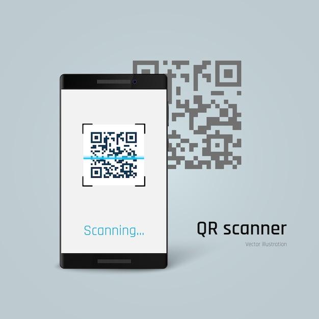 Qr-код сканирования мобильного телефона. Premium векторы