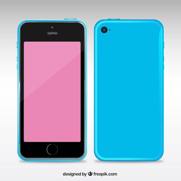 Mobile phone with a blue case Free Vector