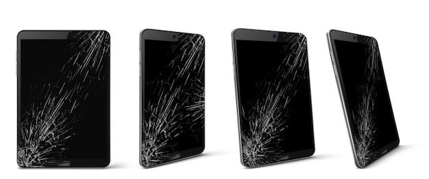 Mobile phone with broken screen front and side view, smashed smartphone, shattered electronics device with black touchscreen covered with scratches and cracks, realistic 3d vector illustration, set Free Vector