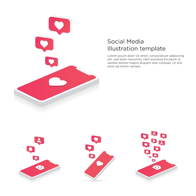 Mobile phone with camera, heart, follower and comment bubbles push notifications Premium Vector
