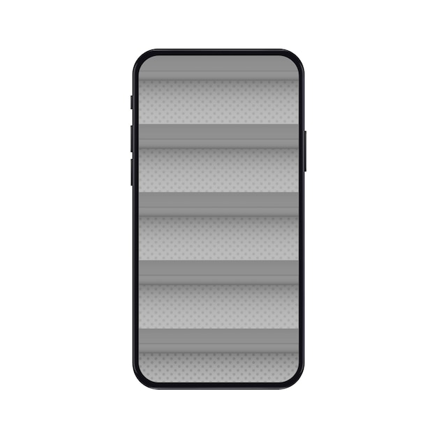 Mobile phone with empty shelves for online store mockup Premium Vector