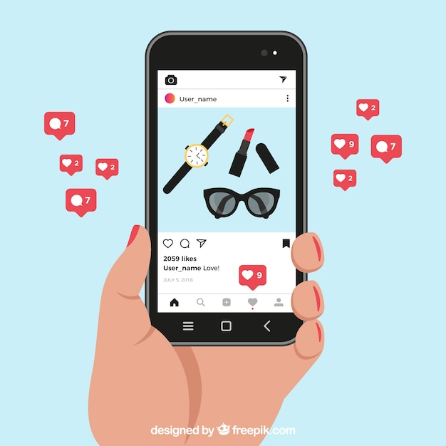 Vector Illustration Instagram: Mobile Phone With Instagram Post Template And