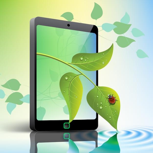 Мобильный телефон с листьями и концепции зеленой окружающей среды божья коровка Premium векторы