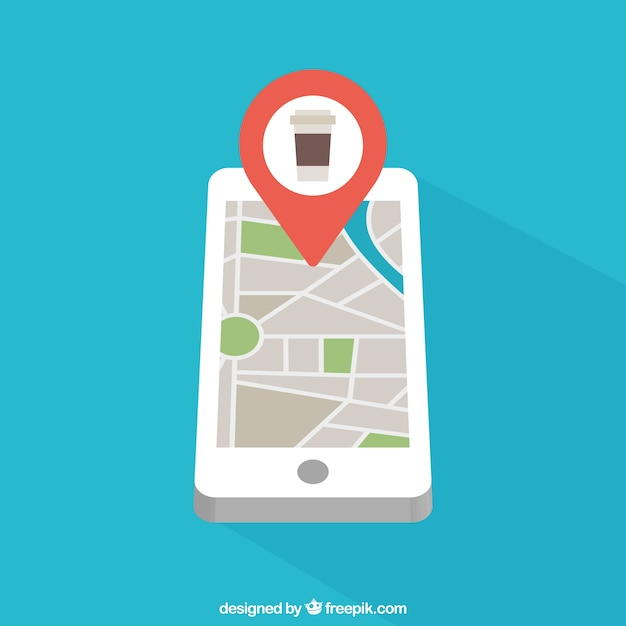 Mobile phone with map Vector Free Download