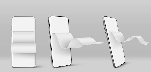 Мобильный телефон с бумажным финансовым счетом спереди и углом обзора Бесплатные векторы