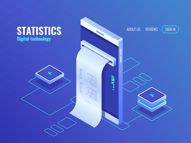 Mobile phone with payroll isometric icon, data on screen of