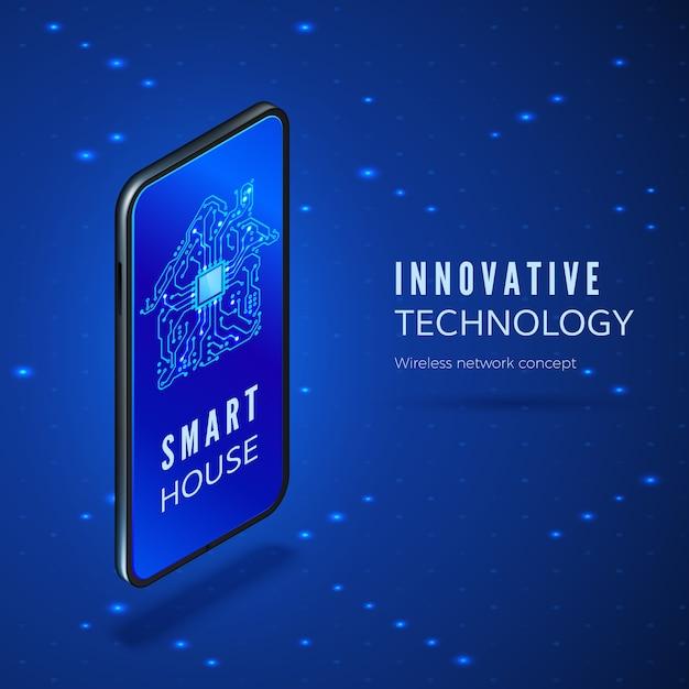 Мобильный телефон с приложением интерфейса умного дома. силуэт здания цепи на экране смартфона. Premium векторы