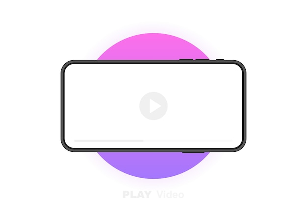 Мобильный телефон с видеоплеером. концепция социальных сетей. видеоконференция, стриминг, ведение блога. графический. Premium векторы