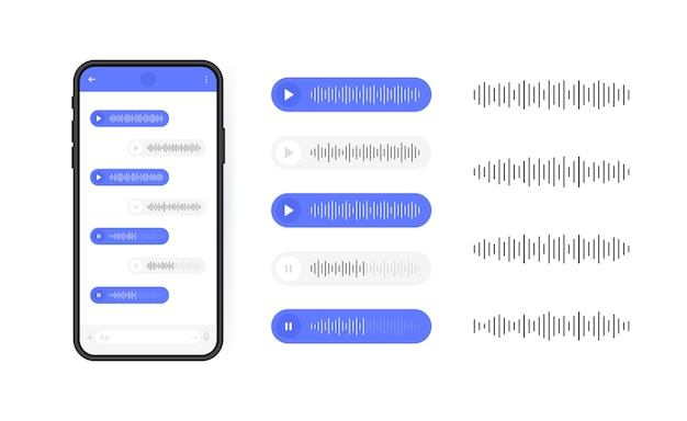 Mobile phone with voice messages icon. message bubble with sound wave for social media. modern    illustration. Premium Vector