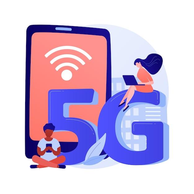 携帯電話5gネットワーク抽象的な概念ベクトル図。携帯電話通信、最新のスマートフォン、5gテクノロジー、高速インターネット接続、ネットワークカバレッジプロバイダーの抽象的なメタファー。 無料ベクター