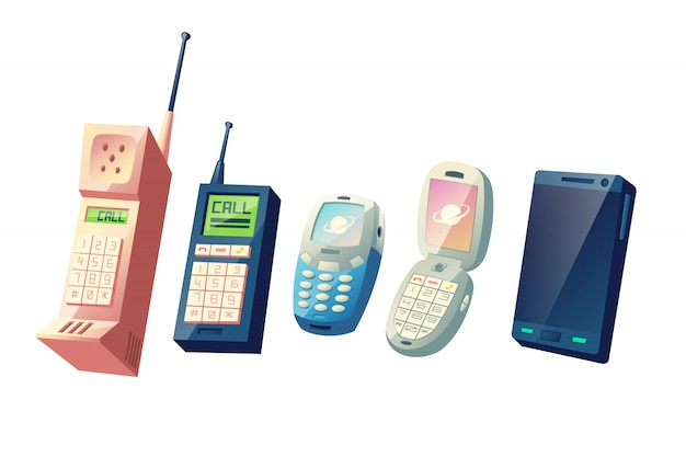 Mobile phones evolution cartoon vector concept. cellphones generations from vintage models with physical numeric keypads and retractable antennas to modern smart devices with touchscreen illustration Free Vector